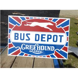 GREYHOUND BUS DEPOT METAL SIGN