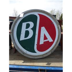 ROUND FRAMED BA METAL SIGN