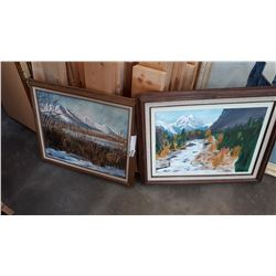 2 OIL CANVAS FARM PAINTINGS
