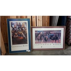 2 CLOVERDALE RODEO PRINTS FROM 1991 AND 1994 FRAMED