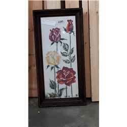 CROSS STITCH FRAMED PICTURE OF FLOWERS