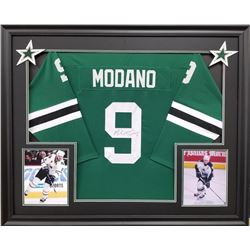 Mike Modano Signed Stars 35x43 Custom Framed Jersey (JSA COA)