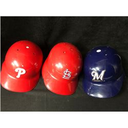 ON FIELD BATTING HELMETS LOT (PHILLIES/ CARDINALS/ BREWERS)