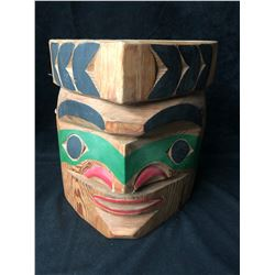 """NATIVE WOOD CARVED MASK """"MEDICINE MAN"""" (12"""" X 12"""") BY CHIEF NICK"""