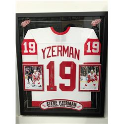 Steve Yzerman Signed Red Wings 35x43 Custom Framed Jersey (JSA COA & Yzerman Hologram)