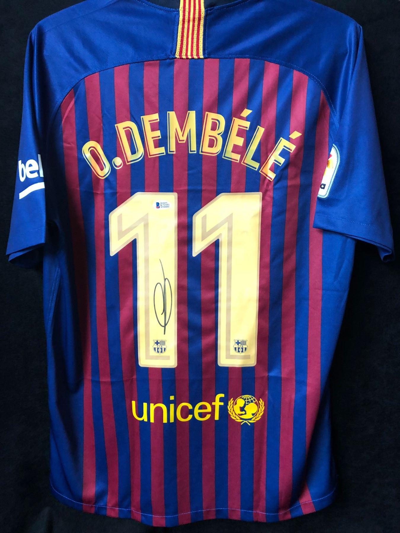 the latest b076e a7027 Ousmane Dembele Signed Barcelona Jersey (Beckett COA)