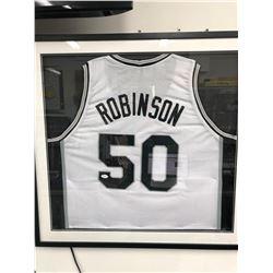 David Robinson Signed Spurs Framed Jersey (JSA COA)