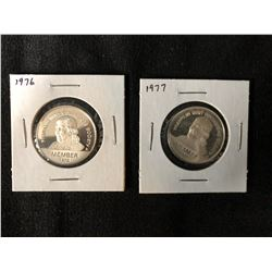 1976 AND 1977 FRANKLIN MINT COLLECTORS SOCIETY COINS .925 SILVER