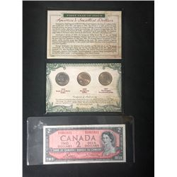 CANADIAN/ U.S.A CURRENCY LOT (1954 $2 CANADIAN DOLLAR & AMERICAN DOLLAR COINS)