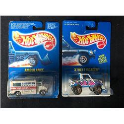 1990'S BLUE CARD HOT WHEELS TOY CAR LOT (AMBULANCE/ STREET ROADER)