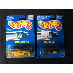 1990'S BLUE CARD HOT WHEELS TOY CAR LOT (LUMINA MINI VAN/ SHADOW JET)