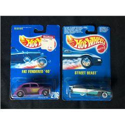 1990'S BLUE CARD HOT WHEELS TOY CAR LOT (FAT FENDERED '40'/ STREET BEAST)