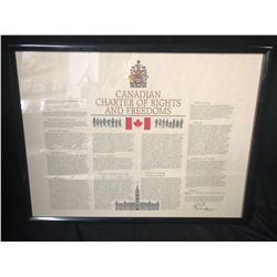 "FRAMED ""CANADIAN CHARTER OF RIGHTS AND FREEDOMS"""