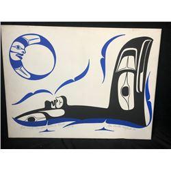 20 X 24 ORIGINAL ART ON CANVAS KILLER WHALE BY PEN HOUSTIE