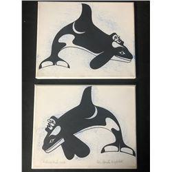 "LOT OF 2 12 X 14 ORIGINAL ART ON CANVAS ""KILLER WHALE"" BY BEN HOUSTIE"
