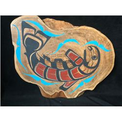 """2015 HAND CARVED NATIVE CRIBBAGE BOARD """"SALMON"""" BY BEN HOUSTIE (24"""" X 20"""")"""