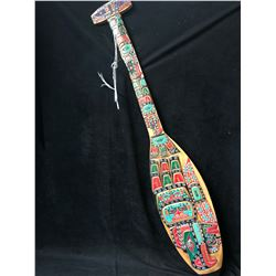 """HAND CARVED NATIVE PADDLE BY JIMMY JOSEPH (48"""")"""