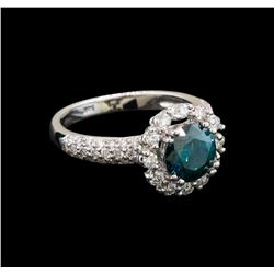 14KT White Gold 2.11 ctw Blue Diamond Ring