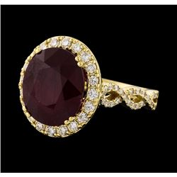 9.32 ctw Ruby and Diamond Ring - 14KT Yellow Gold