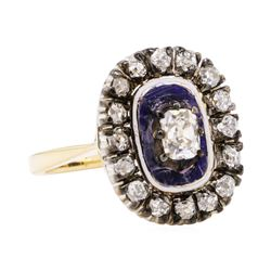 1.00 ctw Diamond Vintage Ring - 18KT Yellow and White Gold