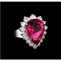 11.41 ctw Pink Tourmaline and Diamond Ring - 14KT White Gold