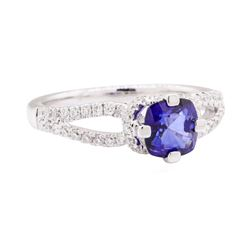 1.42 ctw Sapphire And Diamond Ring - 18KT White Gold