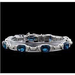 Crayola 27.00 ctw Blue Topaz and White Sapphire Bracelet - .925 Silver