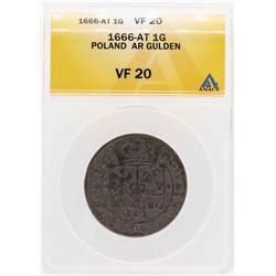 1666-AT Poland AR Gulden Coin ANACS VF20