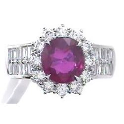 2.17 ctw Ruby and Diamond Ring - 18KT Two-Tone Gold