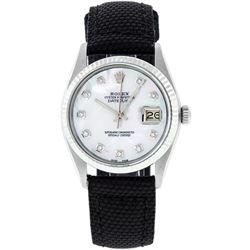Rolex Mens Stainless Steel MOP Diamond 36MM Datejust Wristwatch With Nylon Strap