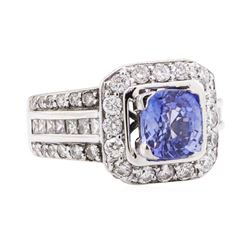 3.46 ctw Sapphire And Diamond Ring - 18KT White Gold