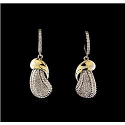0.62 ctw Diamond Earrings - 14KT White and Yellow Gold
