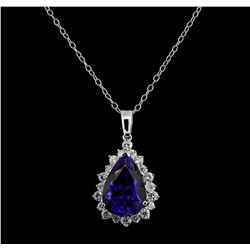 GIA Cert 16.66 ctw Tanzanite and Diamond Pendant With Chain - 14KT White Gold