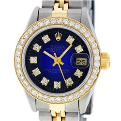 Rolex Ladies 2 Tone 14K Blue Vignette VS Diamond Datejust Wristwatch