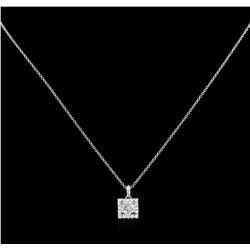 0.87 ctw Diamond Pendant With Chain - 14KT-18KT White Gold