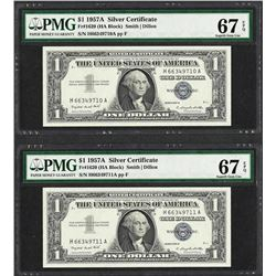 Lot of (2) Consecutive 1957A $1 Silver Certificate Notes PMG Superb Gem Unc 67EP