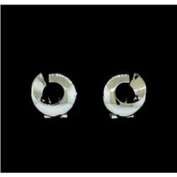 Open Circle Design Earrings - Rhodium Plated
