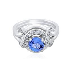 14KT White Gold 1.12 ctw Tanzanite and Diamond Ring