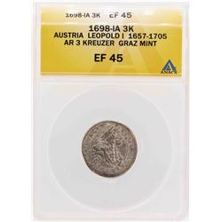 1698-IA Austria Leopold I AR Graz Mint 3 Kreuzer Coin ANACS XF45