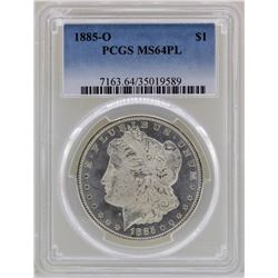 1885-O $1 Morgan Silver Dollar Coin PCGS MS64PL