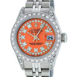 Rolex Ladies Stainless Steel 26MM Orange String Diamond Lugs Datejust Wristwatch