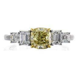 1.21 ctw Fancy Yellow Diamond Ring - 18KT Two-Tone Gold