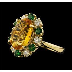 4.81 ctw Citrine, Tsavorite and Diamond Ring - 14KT Yellow Gold