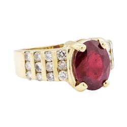 3.40 ctw Ruby And Diamond Ring - 14KT Yellow Gold