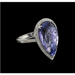 14KT White Gold 14.51 ctw Tanzanite and Diamond Ring