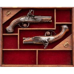 Matched Pair of French Flintlock Coat Pistols