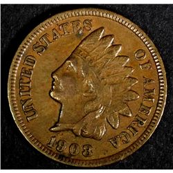1908-S INDIAN HEAD CENT, VF