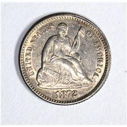 1872 SEATED HALF DIME, CH BU