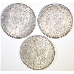 3-CH BU 1896 MORGAN DOLLARS