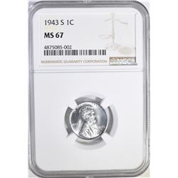 """1943-S LINCOLN """"STEEL"""" CENT, NGC MS-67 GORGEOUS!"""
